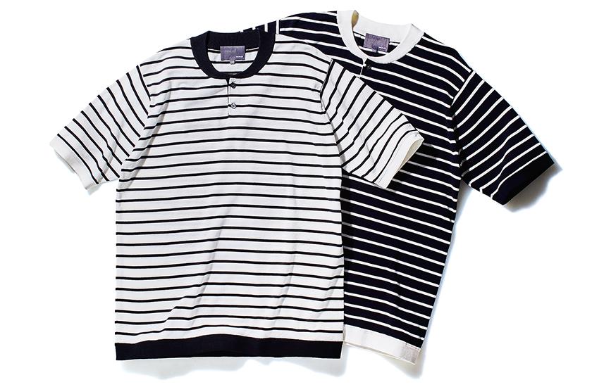 MORLES モアレスのボーダーヘンリーネックニットTシャツ