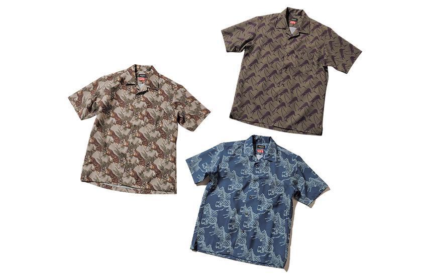 LIFE×MEN'S BIGI ライフ×メンズビギ アニマルプリントオープンカラーシャツ