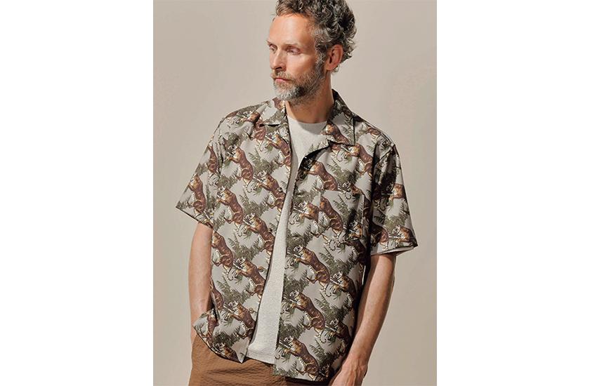 LIFE MEN'S BIGI ライフ メンズビギ アニマルプリントオープンカラーシャツ