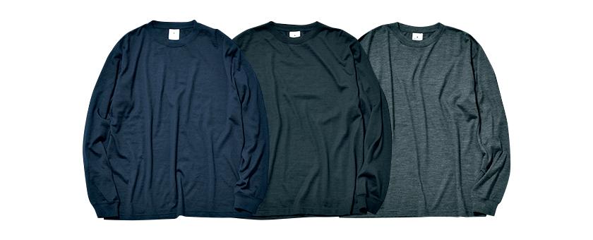 BAMBOOSHOOTS バンブーシュートのメリノウール ロングスリーブ Tシャツ